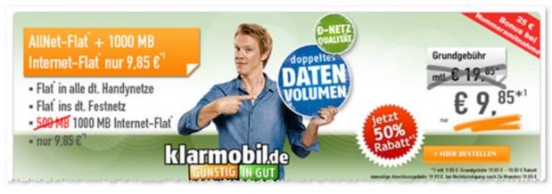 Klarmobil Allnet Flat 1000 im D2-Netz bei Handybude unter 10 Euro