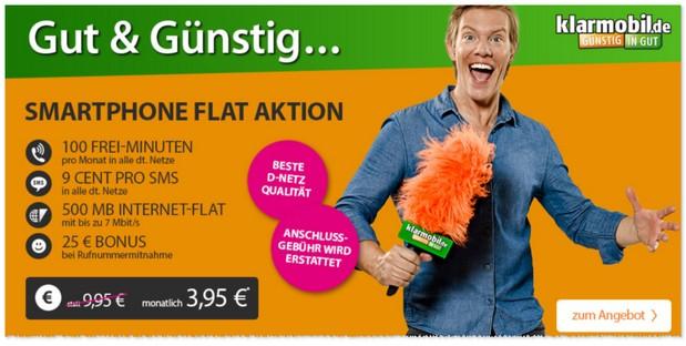 Klarmobil Smartphone Flat mit 500 MB für 3,95 Euro