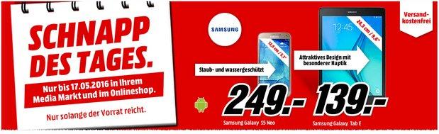 Media Markt Schnapp des Tages Angebot am 17.5.2016 (Dienstag) u.a. mit Samsung Galaxy S5 Neo Smartphone für 249 €