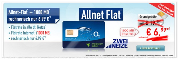 Angebot für die o2 Comfort Allnet-Flat bei Handybude