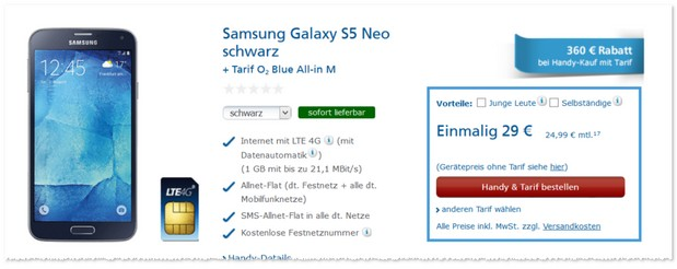 o2 WOW der Woche mit Samsung Galaxy S5 Neo