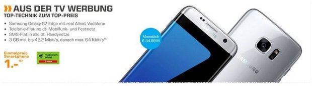 Real Allnet Vodafone mit Samsung Galaxy S7 edge für 34,99 € mit 1 € Zuzahlung in der Saturn-Werbung