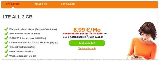 SimDiscount LTE All ohne Laufzeit ab 8,99 €