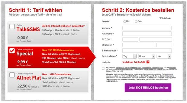 Vodafone Freikarte mit Tarif-Optionen