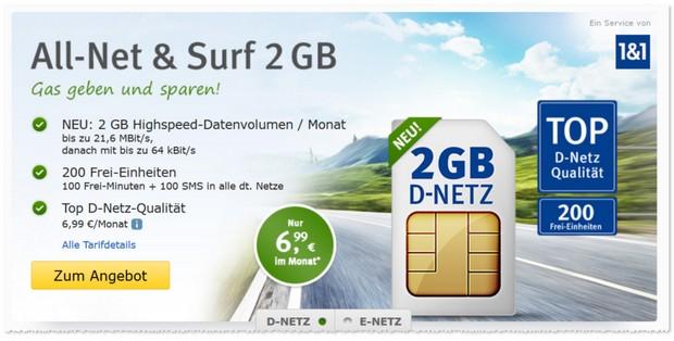 WEB.DE Allnet & Surf für 6,99 € mit 2 GB Internet-Flat