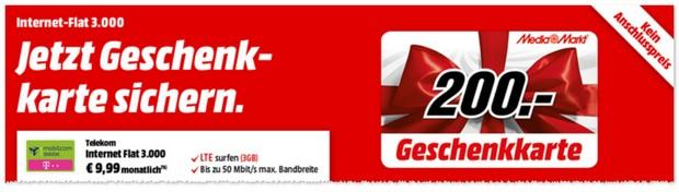 3GB D1 Internet-Flat 3.000 mit LTE im D1-Netz + 200 Euro Media Markt Geschenkkarte