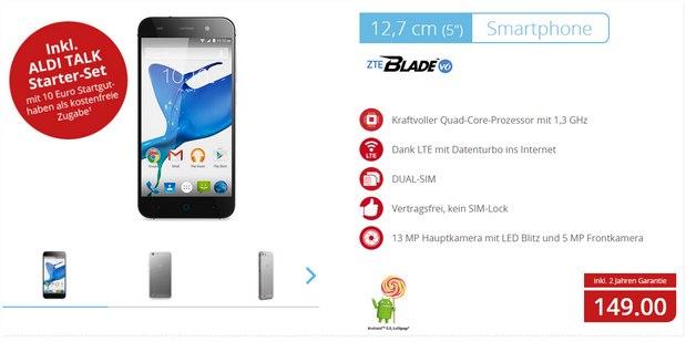 ALDI Smartphone-Angebot im Mai 2016: ZTE Blade V6