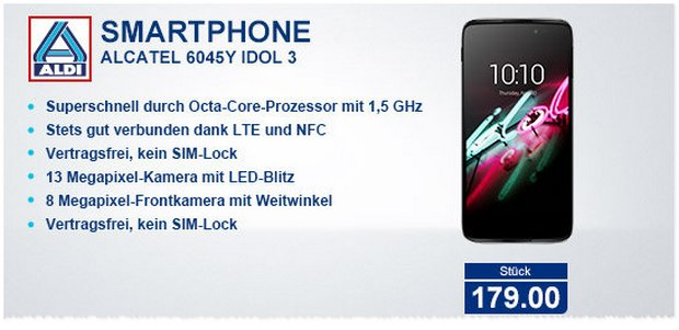 ALDI Nord Technik-Angebot ab 9.6.2016: Alcatel Idol 3 Smartphone für 179 €