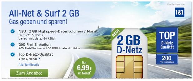 GMX-Handytarif All-Net & Surf mit 2 GB für 6,99 Euro