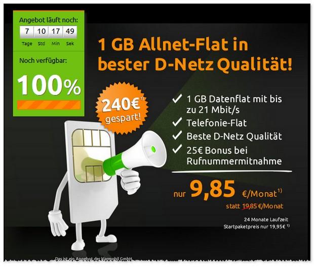 Klarmobil D1 Allnet-Flat (1GB) unter 10 Euro