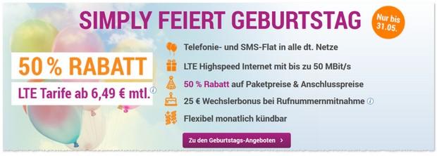 simply Allnet-Flats mit LTE & Tarif-Rabatt