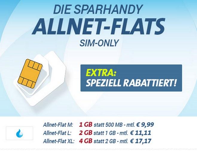 sparhandy Allnet-Flat Aktion ab 9,99 € / Monat im August 2016