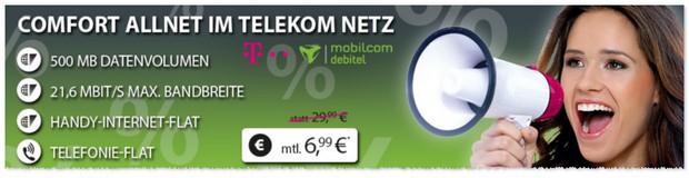 Telekom Comfort Allnet-Flat von mobilcom-debitel für 6,99 € im Juni 2016