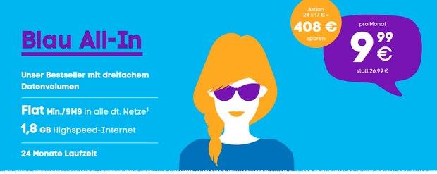Blau All-in mit 1,8 GB Internet-Flat für 9,99 € im Monat als neuer Aktionstarif