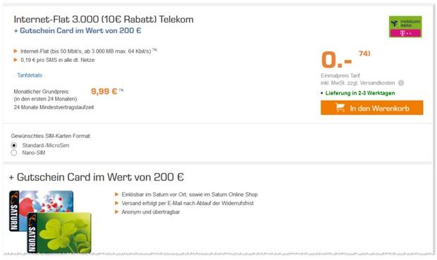 Internet-Flat 3.000 mit 3GB LTE Datenvolumen und 200 € Saturn Gutschein