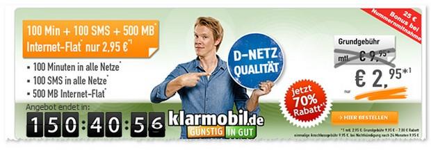 Klarmobil Allnet Starter / der Smartphone Flat VF mit 500 MB Internet-Flat