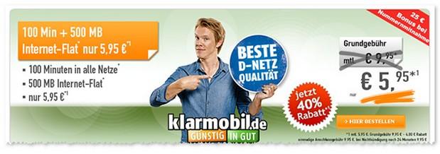 Klarmobil Smartphone Flats (D1-Netz) bei Handybude