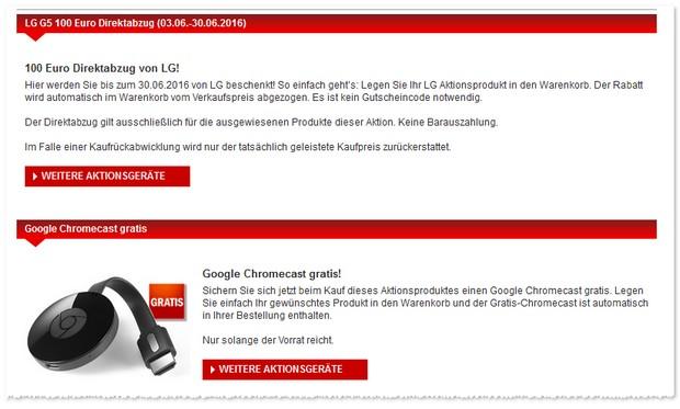 LG G5 ohne Vertrag durch Cashback-Direktabzug von 100 Euro günstig kaufen