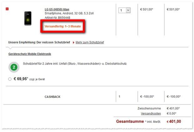 100 Euro Sofort-Rabatt bei Redcoon - LG G5 ohne Vertrag günstig kaufen