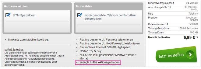 Telekom Comfort Allnet-Flat (md) mit 48 Euro Aktionsguthaben für effektiv 4,99 Euro