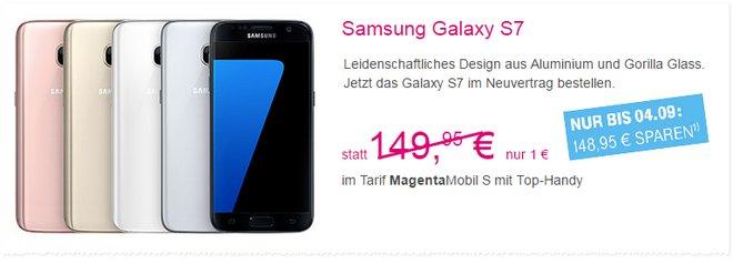 Telekom Werbung: Samsung Galaxy S7 für 1 Euro Zuzahlung als Sonderaktion bis 4.9.2016
