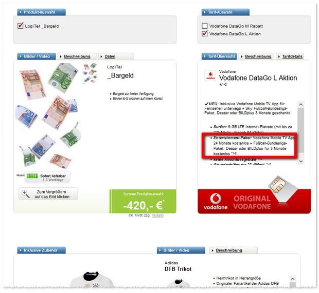 6GB D2 Daten-Flat Vodafone Data Go L - günstig durch Bargeld Auszahlung - DFB Trikot gratis