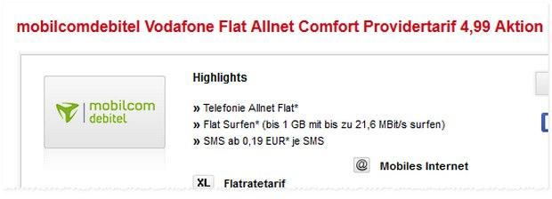 Vodafone Flat Allnet Comfort für rechnerisch 4,99 Euro pro Monat