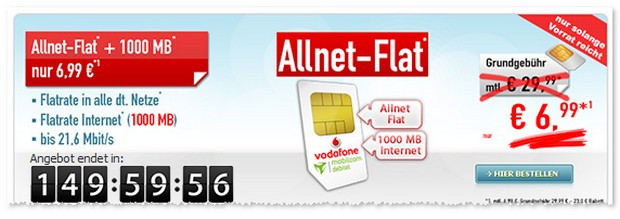 Vodafone Flat Allnet Comfort (SIM-only)