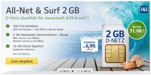 Allnet & Surf von WEB.DE im August 2016