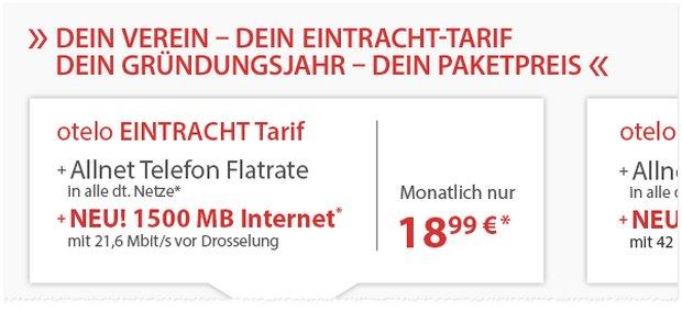 Mehr Datenvolumen: Der Eintracht-Tarif wird auf eine 1,5GB Internet-Flat aufgestockt - der günstige Preis von 18,99 € bleibt