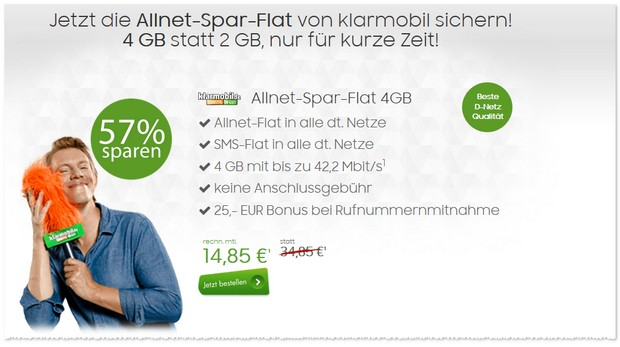 Klarmobil Allnet Spar-Flat (4GB, D2)