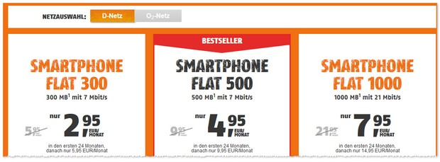 Klarmobil Smartphone Flat mit Grundgebühr-Rabatt