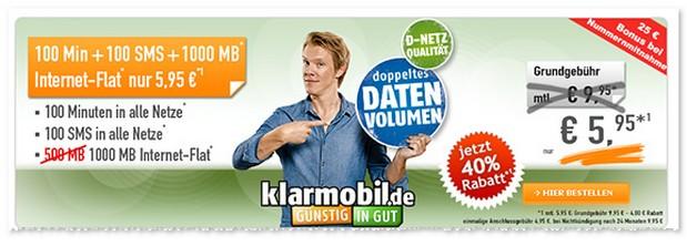 Klarmobil Smartphone Flat VF 1000 für 5,95 Euro im Monat
