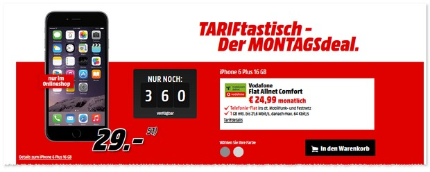 Media Markt TARIFtastisch Montagsdeal - Ersatz seit dem 12.7.2016
