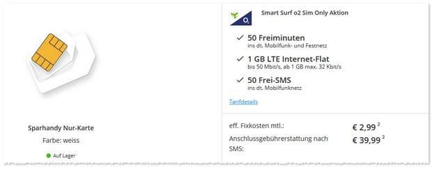 o2 Smart Surf effektiv unter 3 Euro im Monat