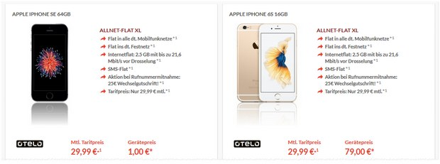 otelo Allnet-Flat XL mit iPhone SE 64GB im Angebot für 1 €