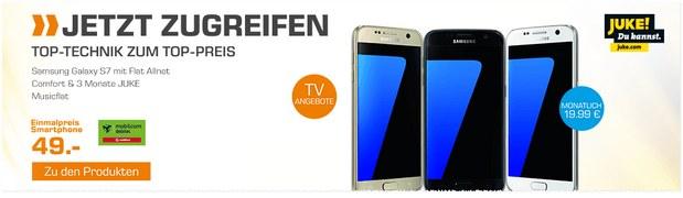 Saturn Handyvertrag aus der Werbung mit Samsung Galaxy S7 für 49 € im Vodafone-Tarif für 19,99 €