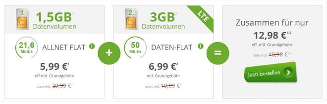 Telekom Comfort Allnet (1,5GB) + Telekom Internet-Flat 3000 (3GB LTE) als mobilcom-debitel-Dual-SIM-Deal für effektiv 12,98 € / Monat