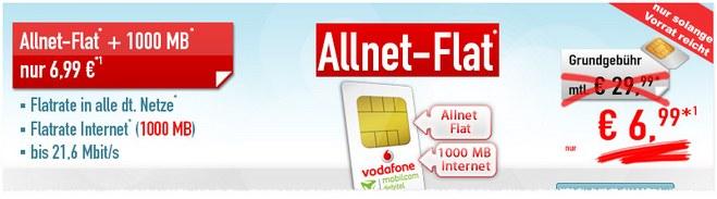 Vodafone Flat Allnet Comfort SIM-only für 6,99 Euro
