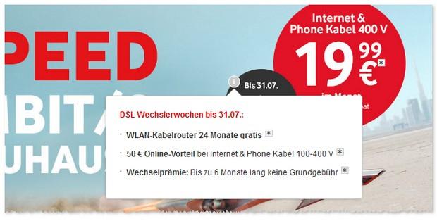 Vodafone Gigaspeed DSL Wechslerwochen