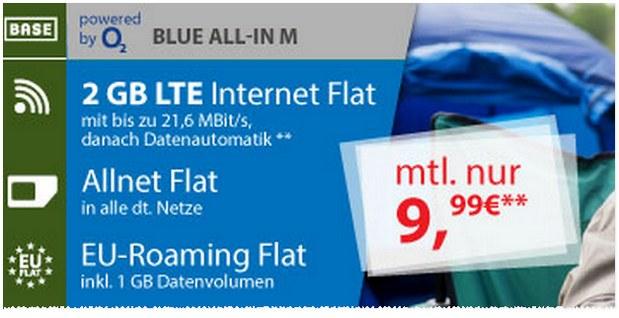 Für den BASE Blue All-in M zahlt ihr 9,99 € im Monat, für den BASE Blue All-in L sind es 12,99 € - das Upgrade für 3 € auf 4GB lohnt sich immer!