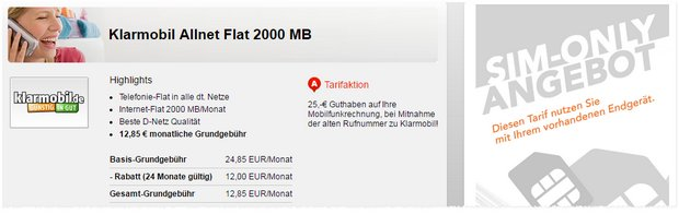 Klarmobil Allnet-Flat 2000 für 12,85 €