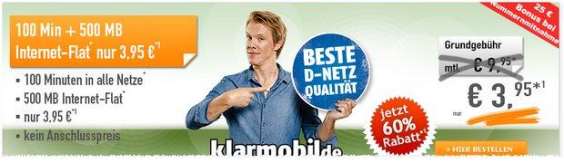 Klarmobil Smart Flat 500 im Telekom-Netz für 3,95 € und ohne Anschlusspreis