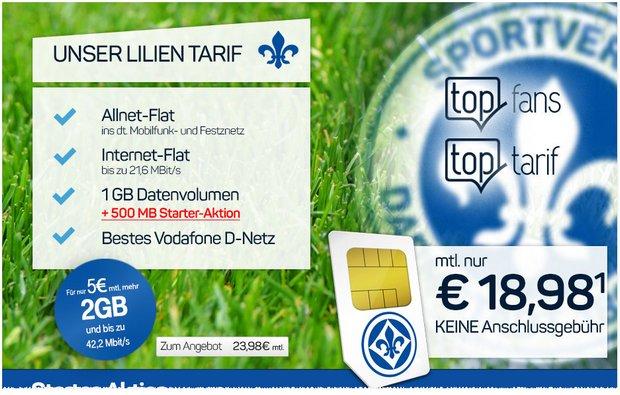 Lilien-Tarif von Darmstadt 98 mit Handy ist 1. Liga