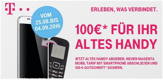 Magenta Mobil S Handyvertrag der Telekom mit iPhone 6S, Samsung Galaxy S7 edge oder Galaxy Note 7 mit 100 € Gutschrift