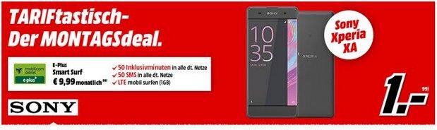Media Markt TARIFtastisch ab 15.8.2016: Sony Xperia XA für 1 € im 10-Euro-LTE-Tarif