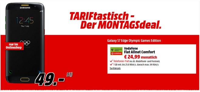Media Markt TARIFtastisch-Angebot ab 22.8.2016 mit Samsung Galaxy S7 edge für 49 € im D2-Netz-Tarif