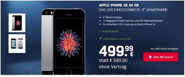 mobilcom-debitel Sonntagskracher mit iPhone SE (64GB) für 499,99 € + Versand