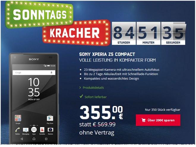 mobilcom-debitel Sonntagskracher mit Sony Xperia Z5 compact für 355 €
