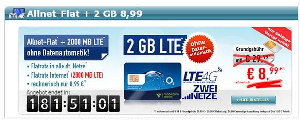 O2 Comfort Allnet 2GB LTE für 8,99 €